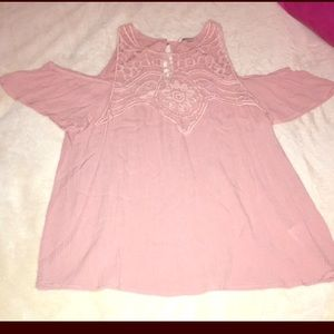 Small Pink Cold Shoulder Lace Top